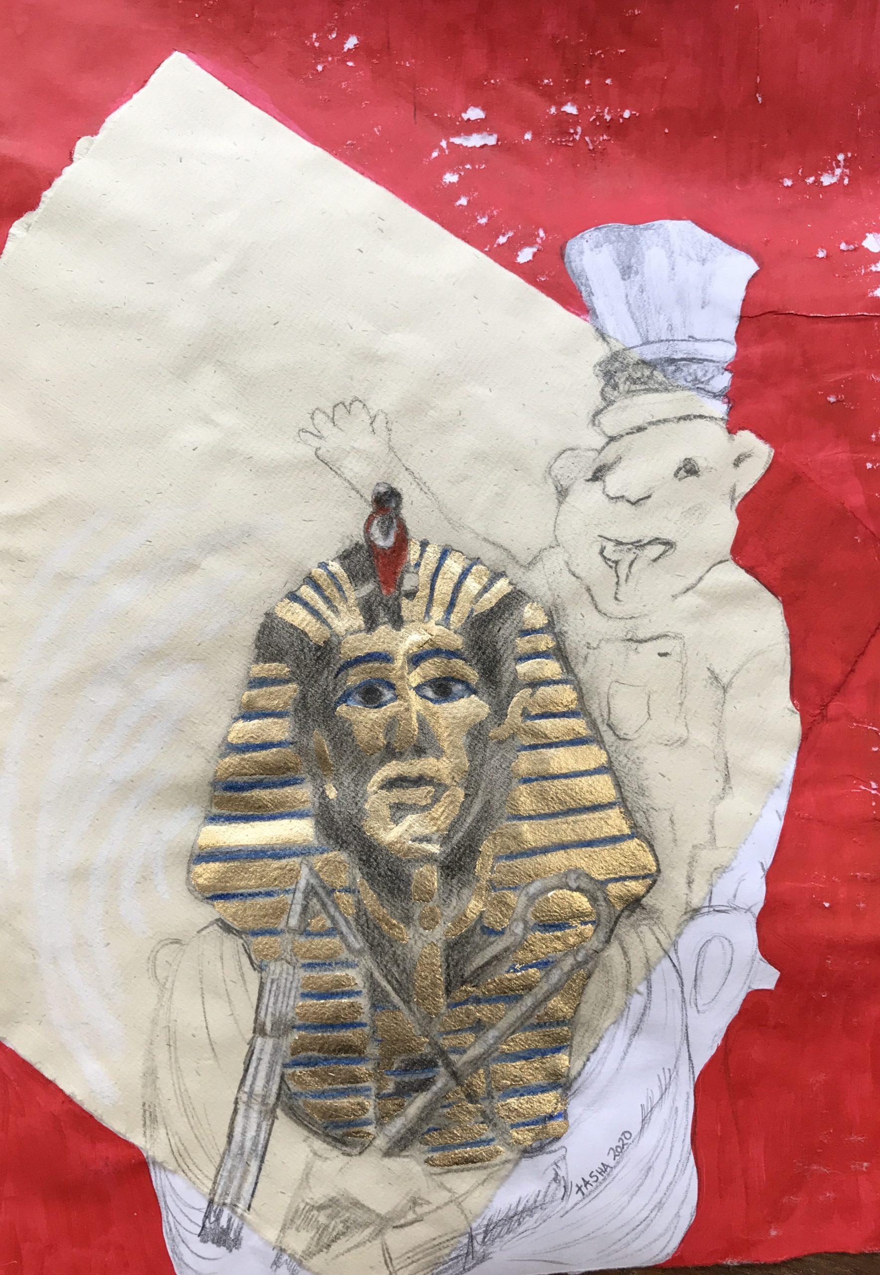 (133) Tasha Button - Gold Tut-ank-amen with Lion Image